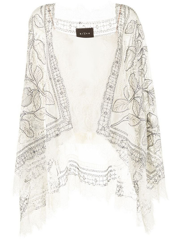 Biyan foral lace panel poncho in white