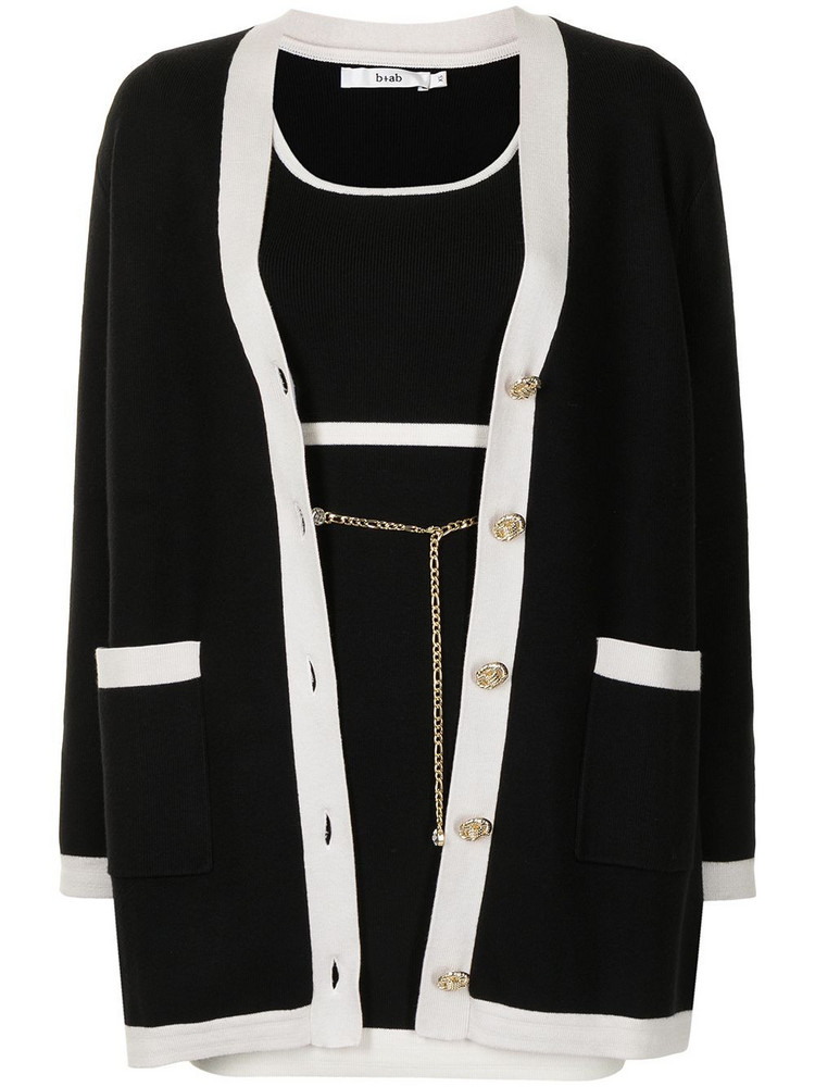b+ab b+ab two-tone knitted dress set - Black