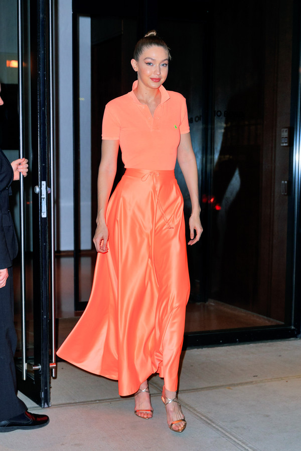 skirt maxi skirt gigi hadid model off-duty celebrity silk