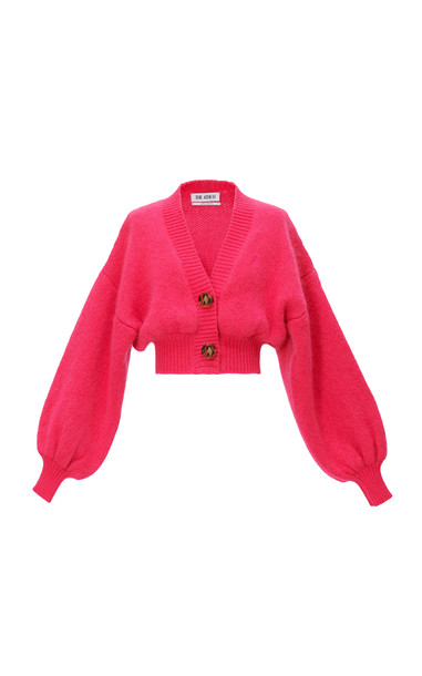 The Attico Balloon-Sleeve Mohair-Blend Cropped Cardigan in pink