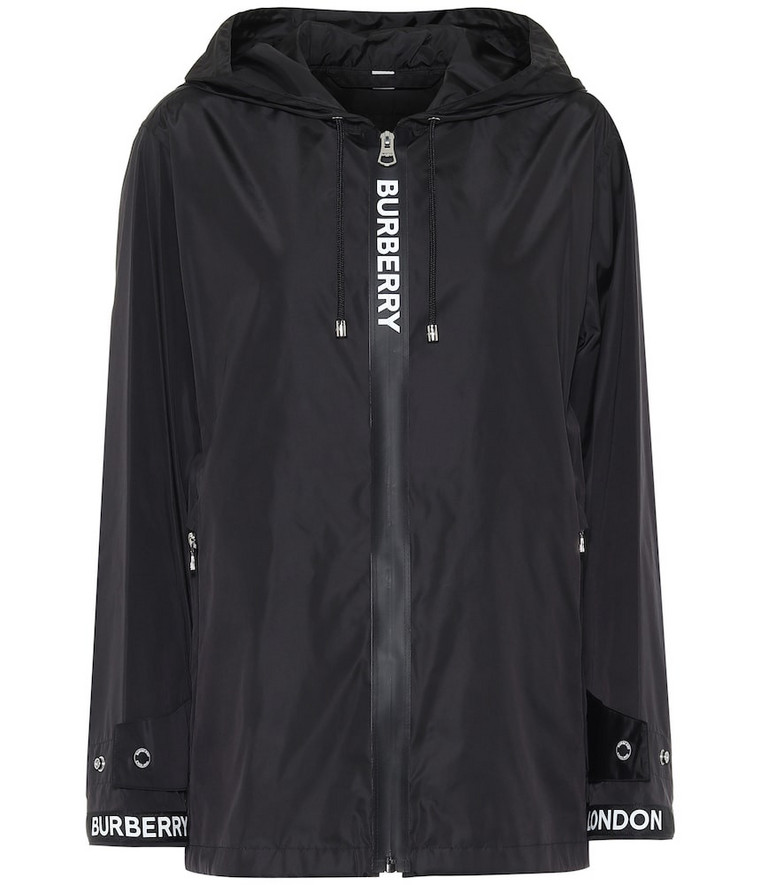 Burberry Logo hooded jacket in black