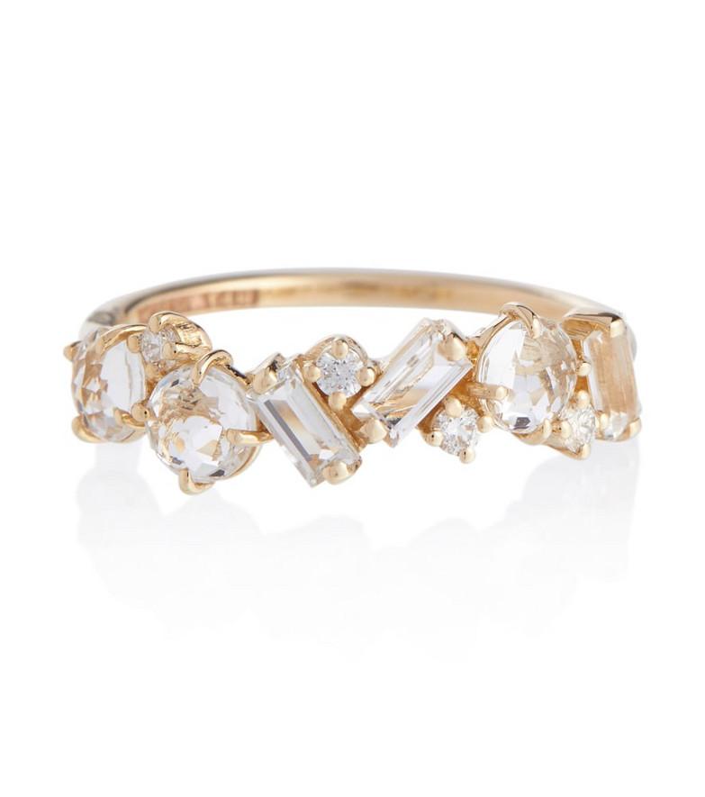Suzanne Kalan Amalfi 14kt gold ring with diamonds and topaz