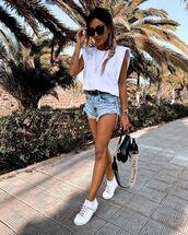 shorts,denim shorts,white sneakers,dior bag,white t-shirt