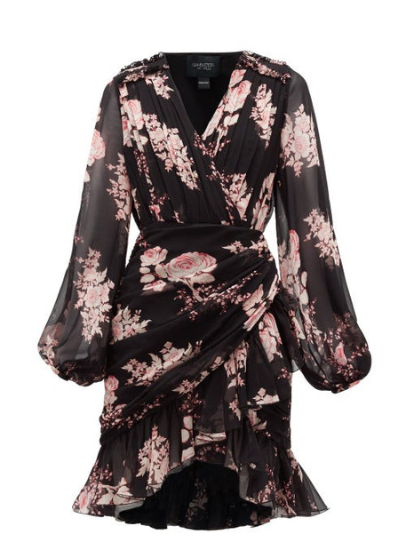 Giambattista Valli - Floral-print Draped Silk-georgette Dress - Womens - Black Multi
