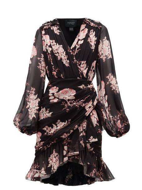 Giambattista Valli - Floral-print Draped Silk-georgette Dress - Womens - Black Multi