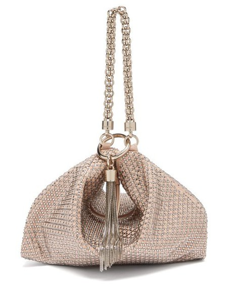 Jimmy Choo - Callie Crystal Embellished Pink Suede Purse - Womens - Light Pink