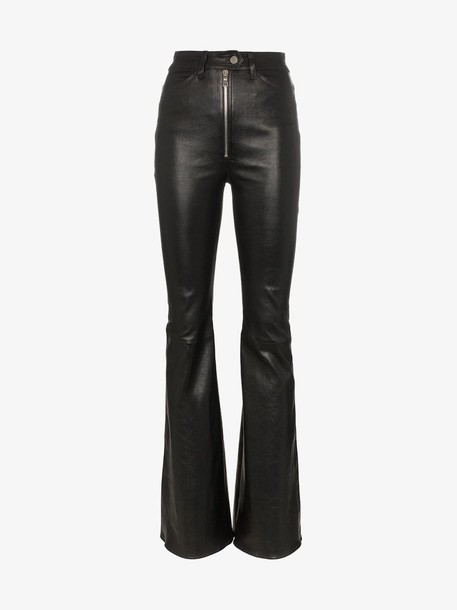 Sprwmn high-waisted flared leather trousers in black