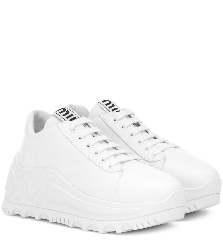 Miu Miu Leather flatform sneakers in white