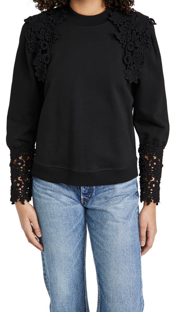 Sea Lace Applique Sweatshirt in black