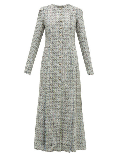 Brock Collection - Palagno Crystal Button Wool Blend Tweed Coat - Womens - Blue