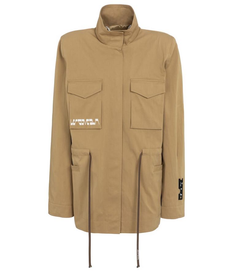 Off-White Printed gabardine jacket in beige