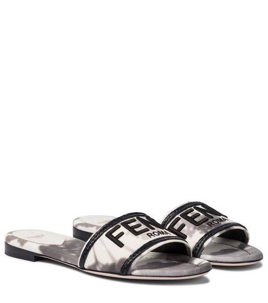 Fendi Logo canvas sandals in grey