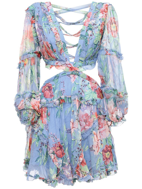 ZIMMERMANN Bellitude Floral Silk Chiffon Mini Dress in blue / multi
