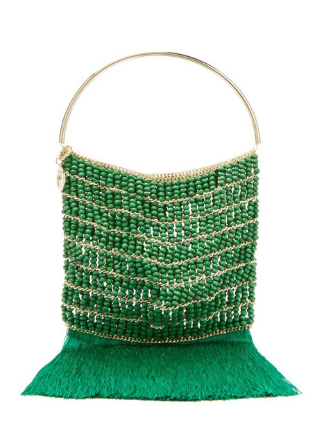 Rosantica By Michela Panero - Georgina Beaded Fringe Trimmed Bag - Womens - Green