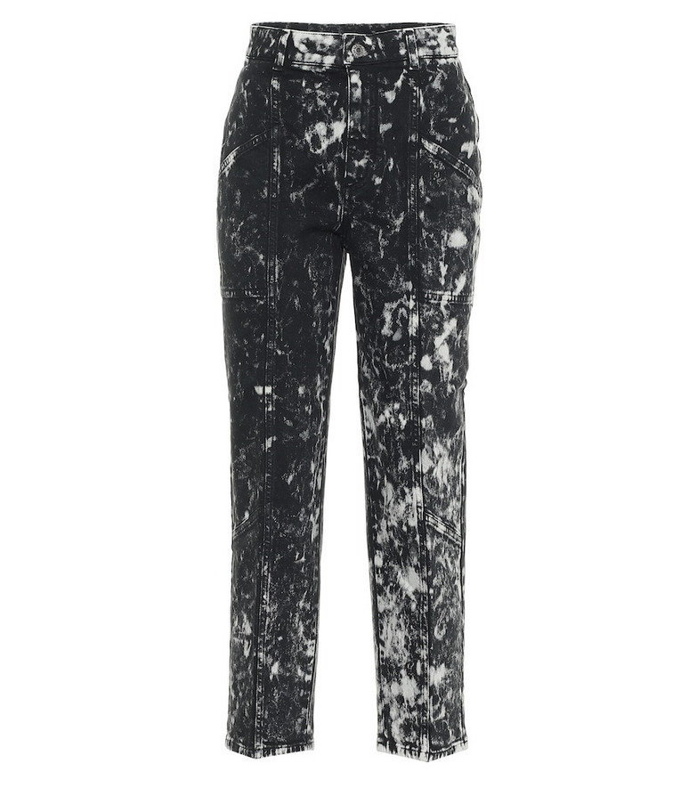 Stella McCartney Galaxy printed high-rise cropped jeans in black