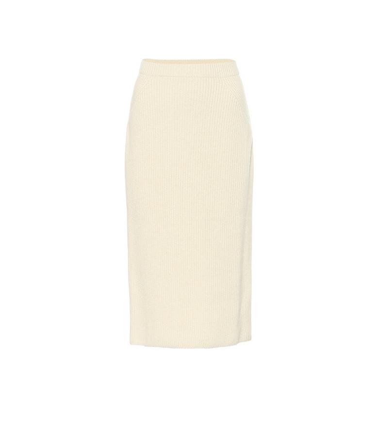 Loro Piana Lexington ribbed-knit cashmere midi skirt in white