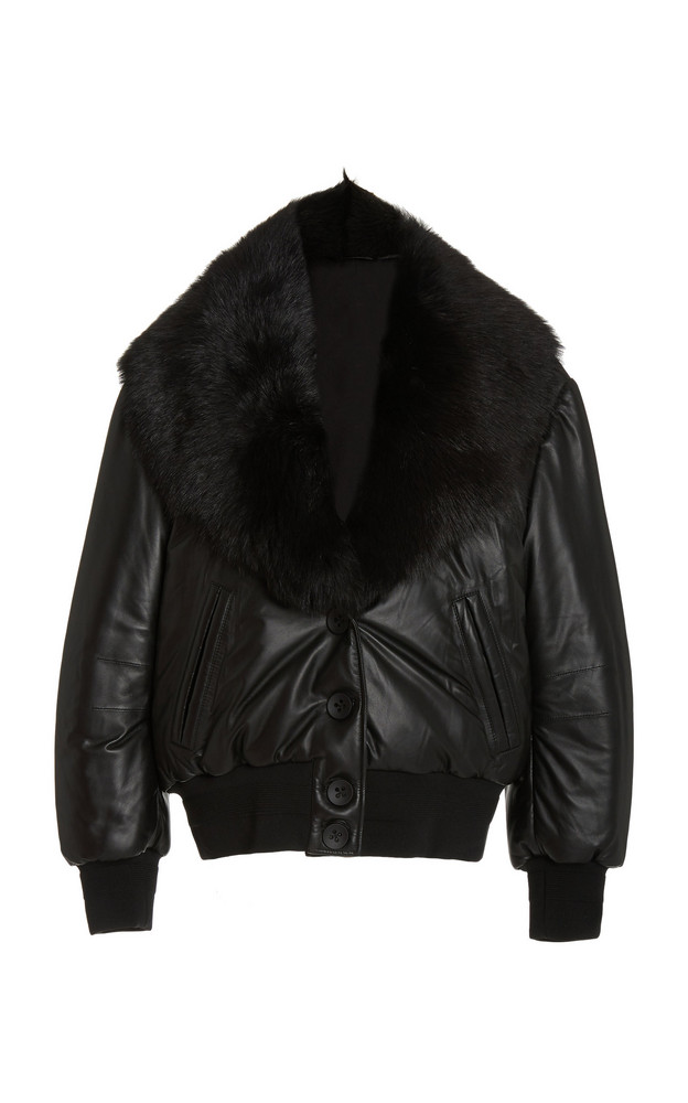 Common Leisure Sundazed Shearling-Trimmed Padded Leather Jacket in black