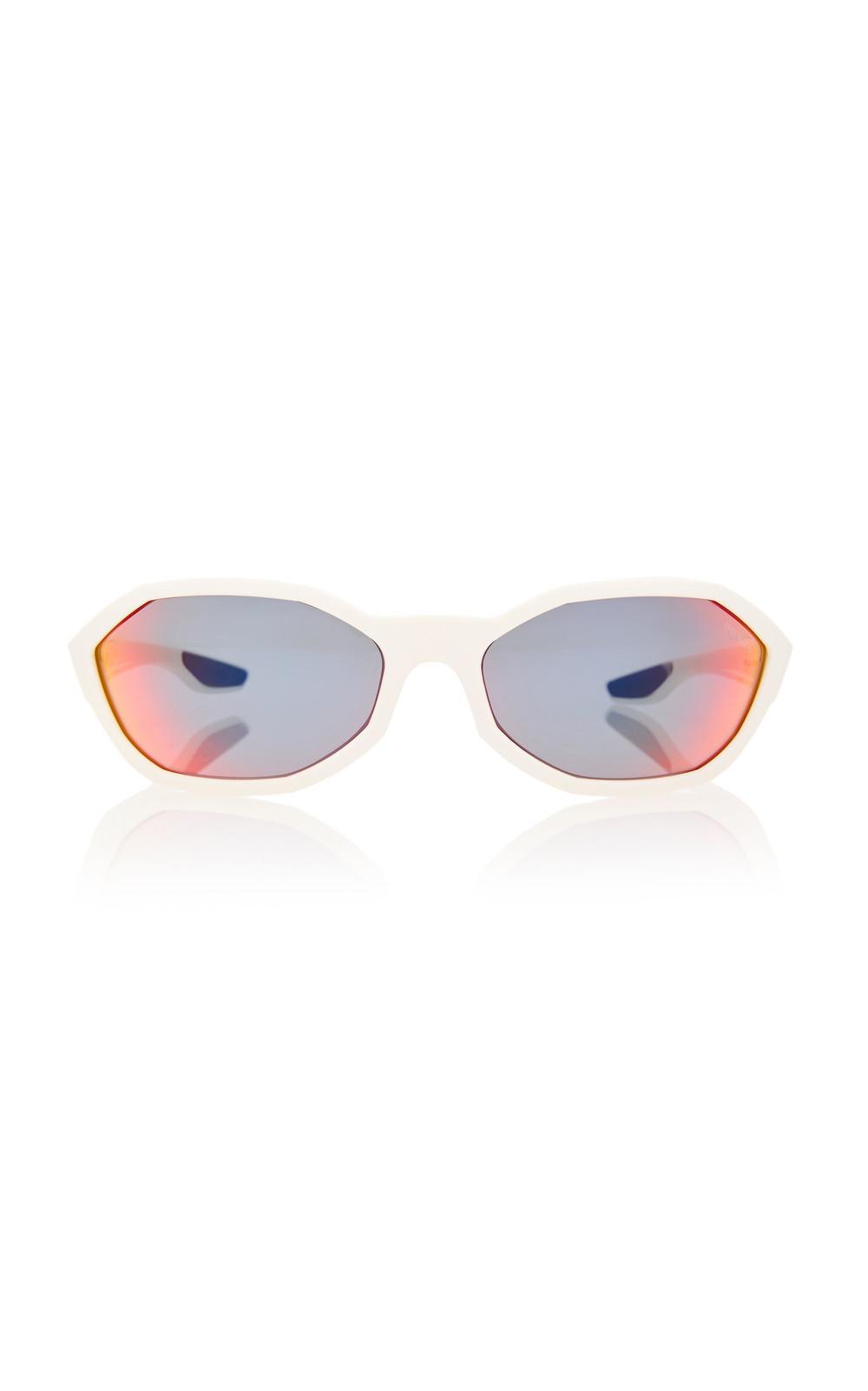 Prada Linea Rossa Hexagon-Frame Acetate Sunglasses in white
