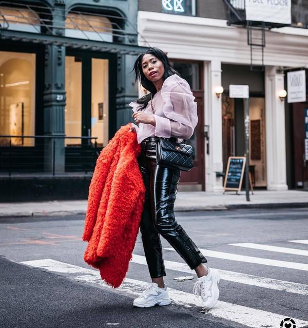 pants black vinyl pants high waisted pants white sneakers red coat teddy bear coat black bag chanel bag white blouse