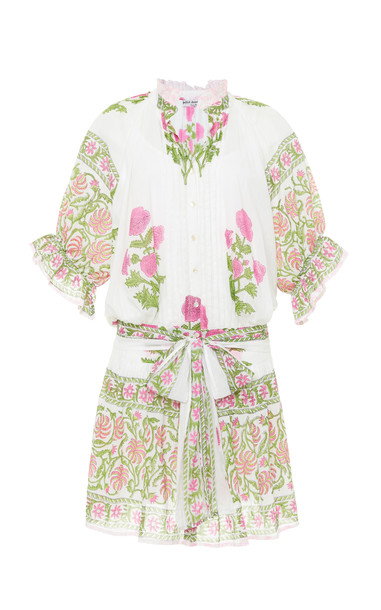 Juliet Dunn Poppy Print Blouson Cotton Dress in white