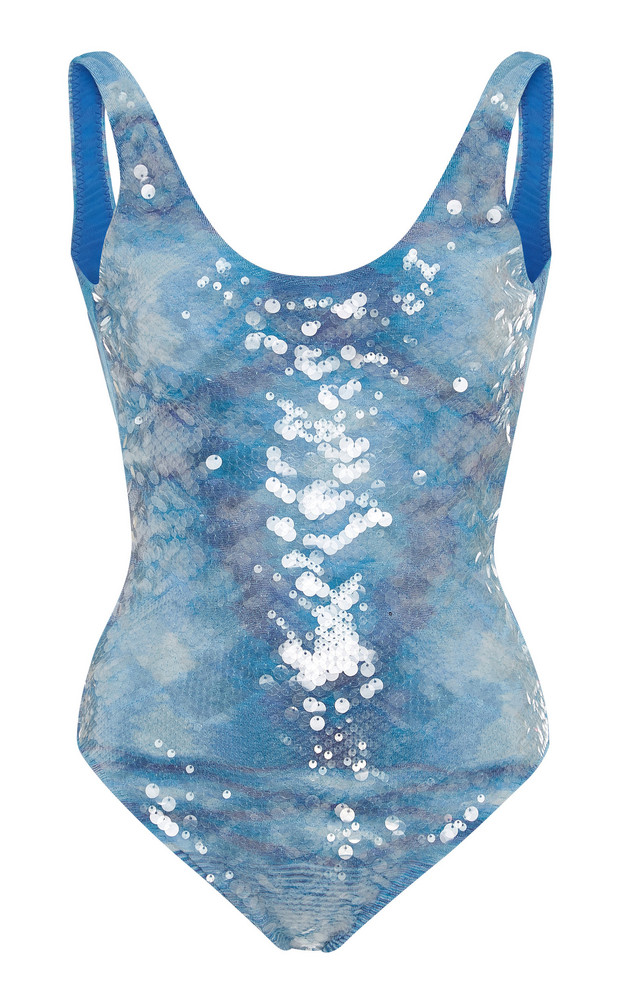 Missoni Mare Sequin-Embellished One-Piece Swimsuit in blue