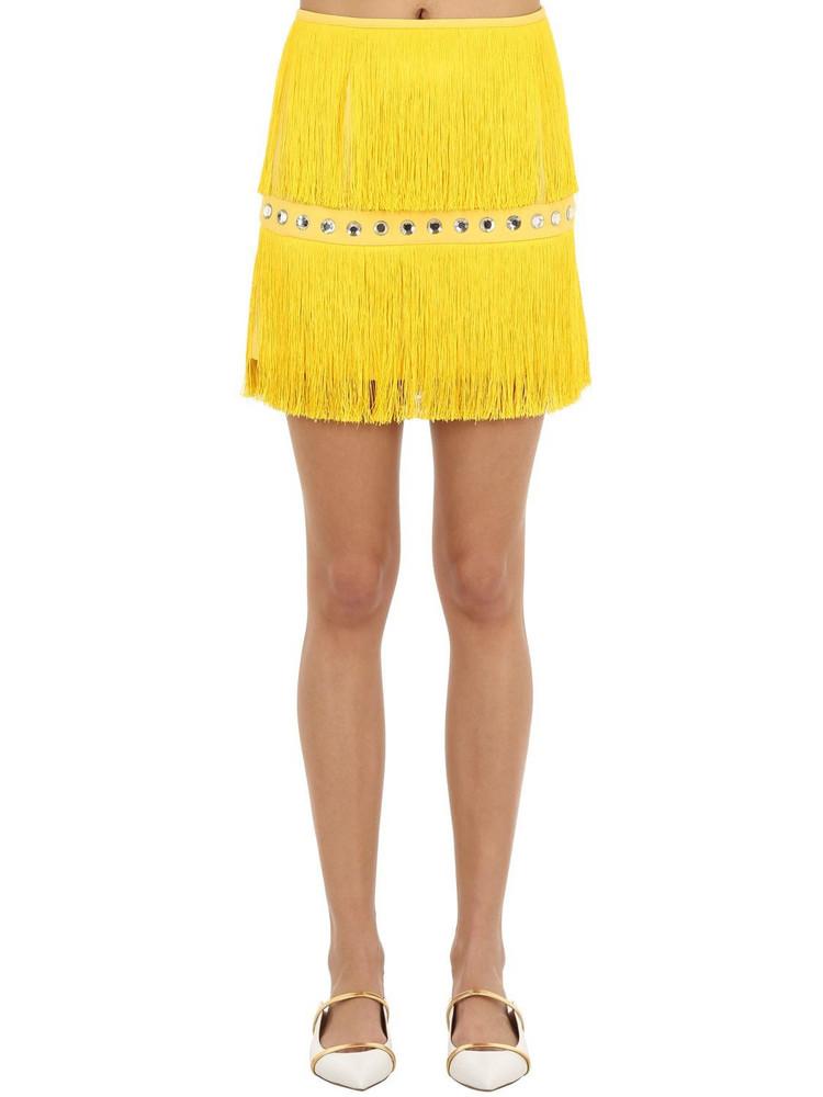 SARA BATTAGLIA Embellished Mini Skirt W/ Fringes in yellow