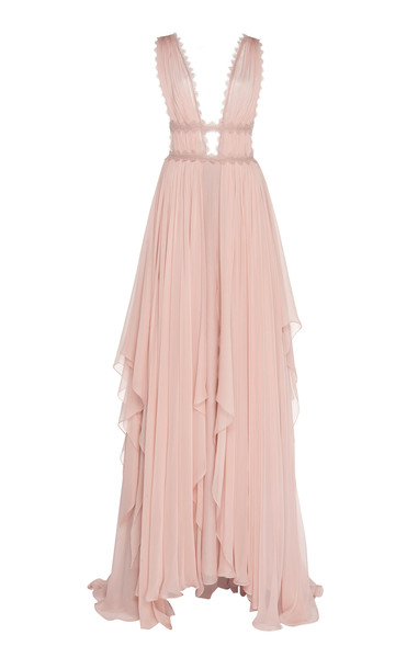 Costarellos Caged-Bodice Silk-Chiffon Gown in pink