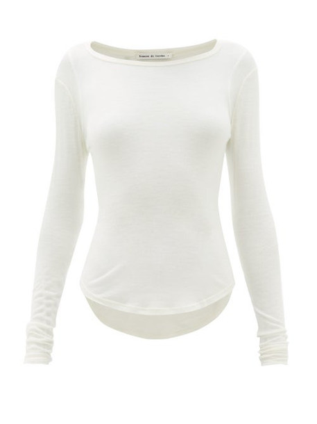 Frances De Lourdes - Romy Cashmere Blend Long Sleeved T Shirt - Womens - Ivory