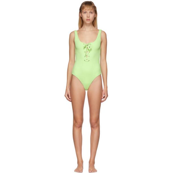 GANNI Green Textured Tie Front One-Piece Swimsuit