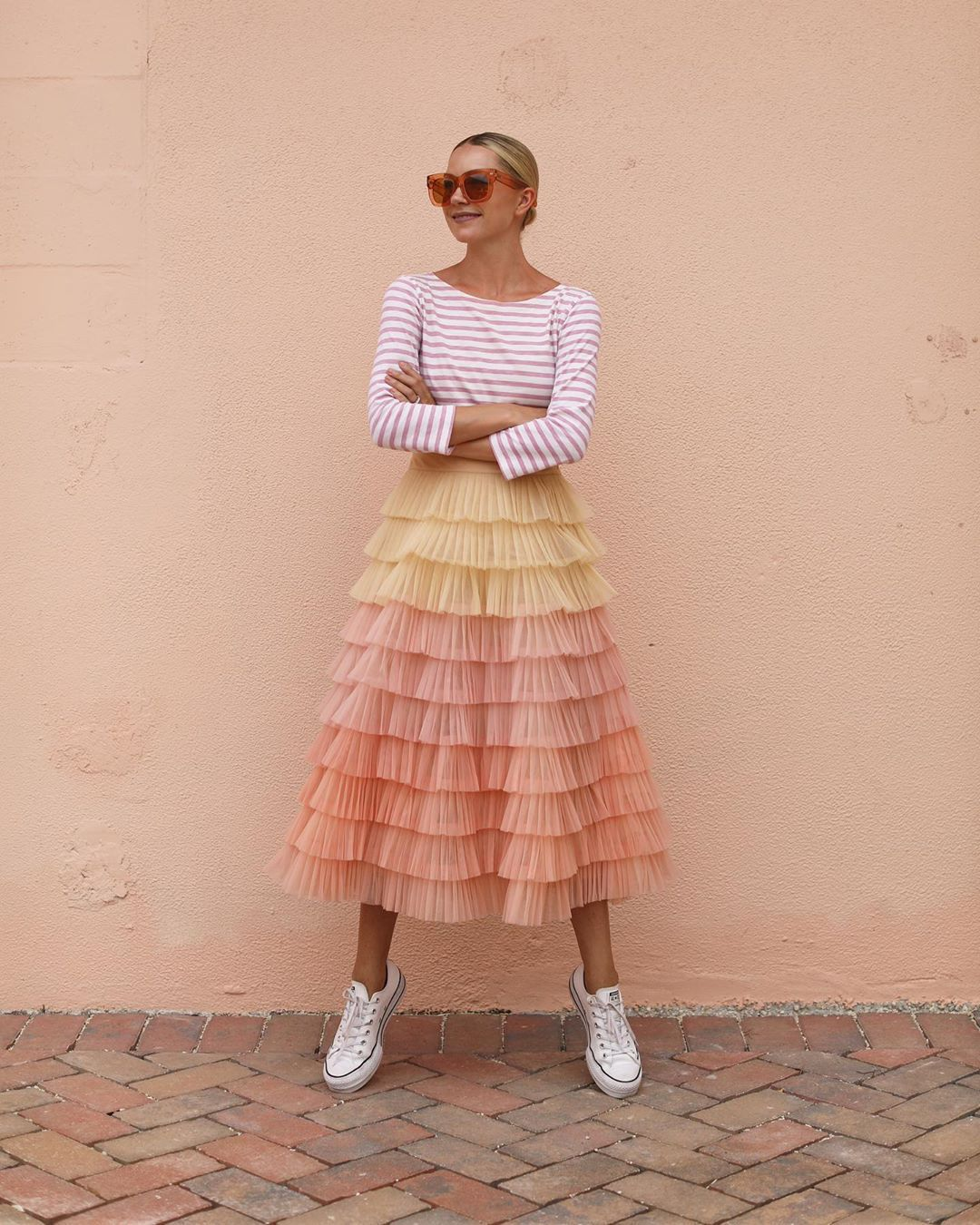 top striped top long sleeves tulle skirt midi skirt sneakers converse