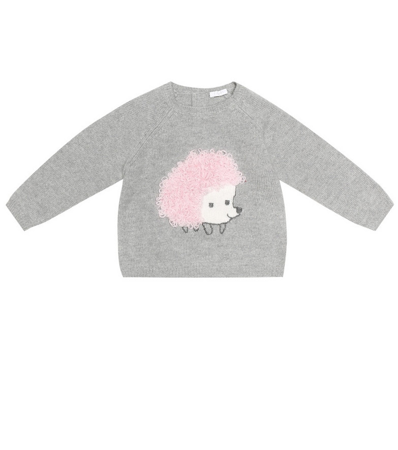 Il Gufo Baby embroidered wool sweater in grey