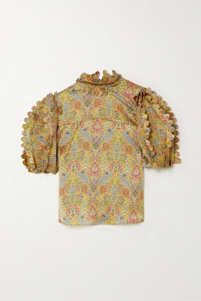 Horror Vacui - Elinor Scalloped Pinctucked Floral-print Silk-satin Blouse - Yellow