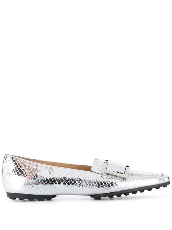 Sergio Rossi metallic slip-on loafers in silver