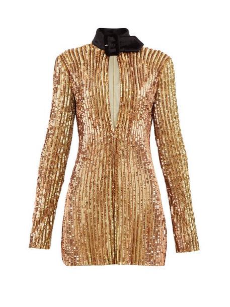 The Attico - Velvet Collar Sequinned Mini Dress - Womens - Gold