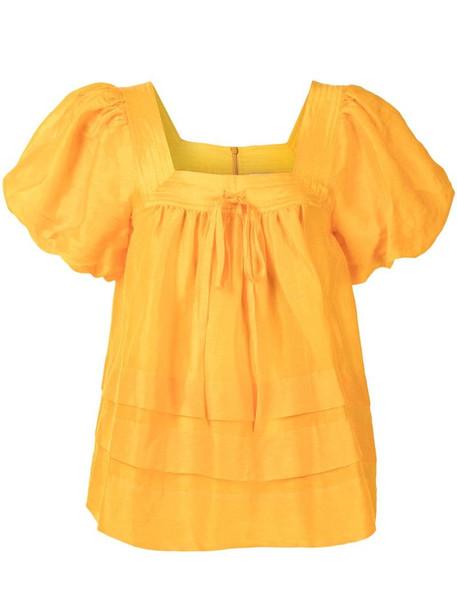 Lee Mathews Maleo puff-sleeve blouse in orange