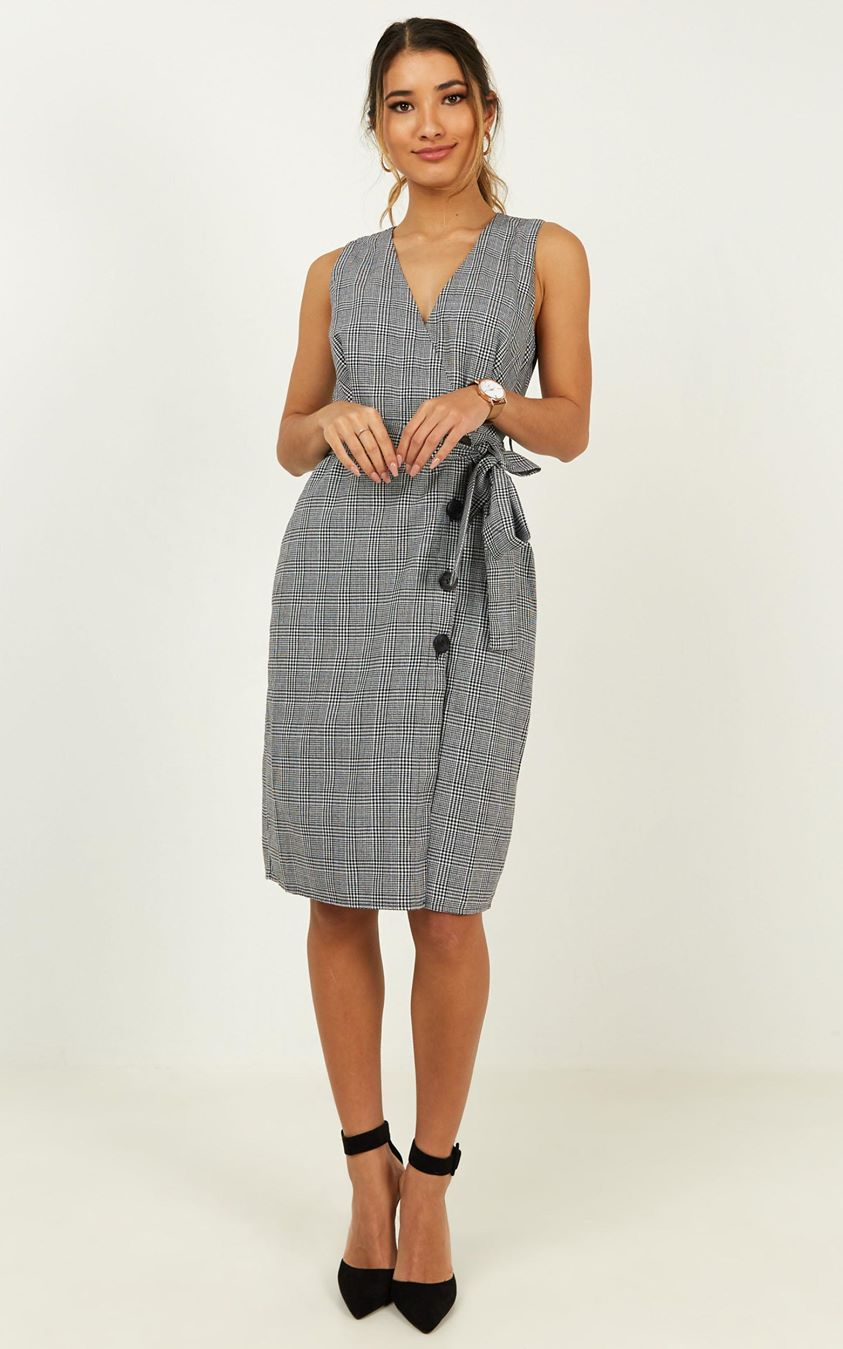 New Project Dress In Black Check