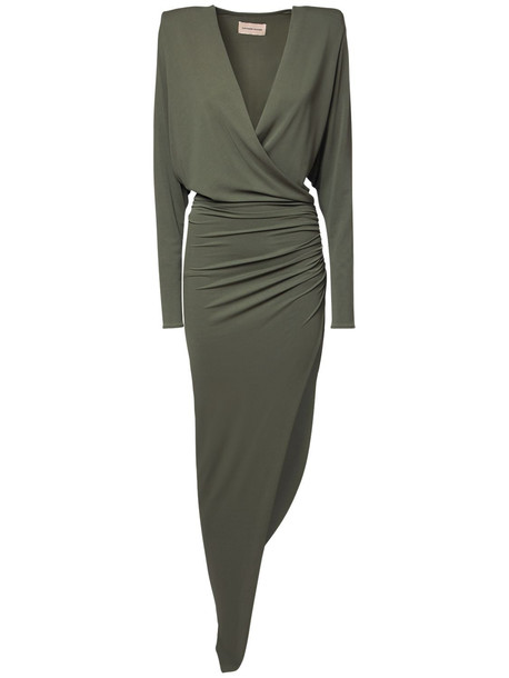 ALEXANDRE VAUTHIER Asymmetrical Draped Stretch Jersey Dress in green