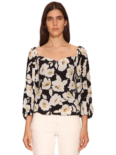 BA & SH Fancy Floral Printed Viscose Shirt in black / multi