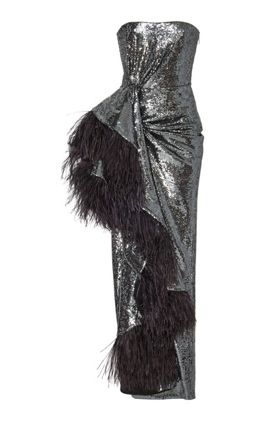 Prabal Gurung Feather-Trimmed Sequined Crepe Gown Size: 0 in black