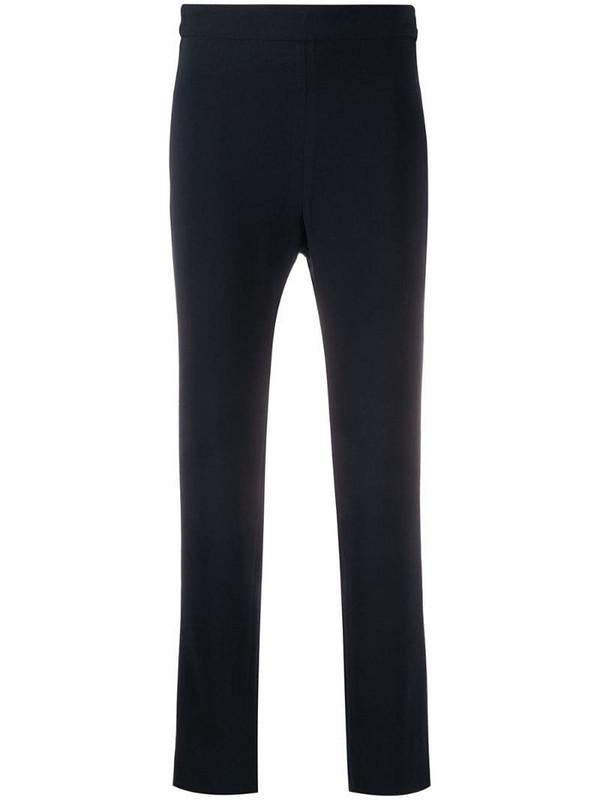 Brag-wette plain cropped trousers in blue
