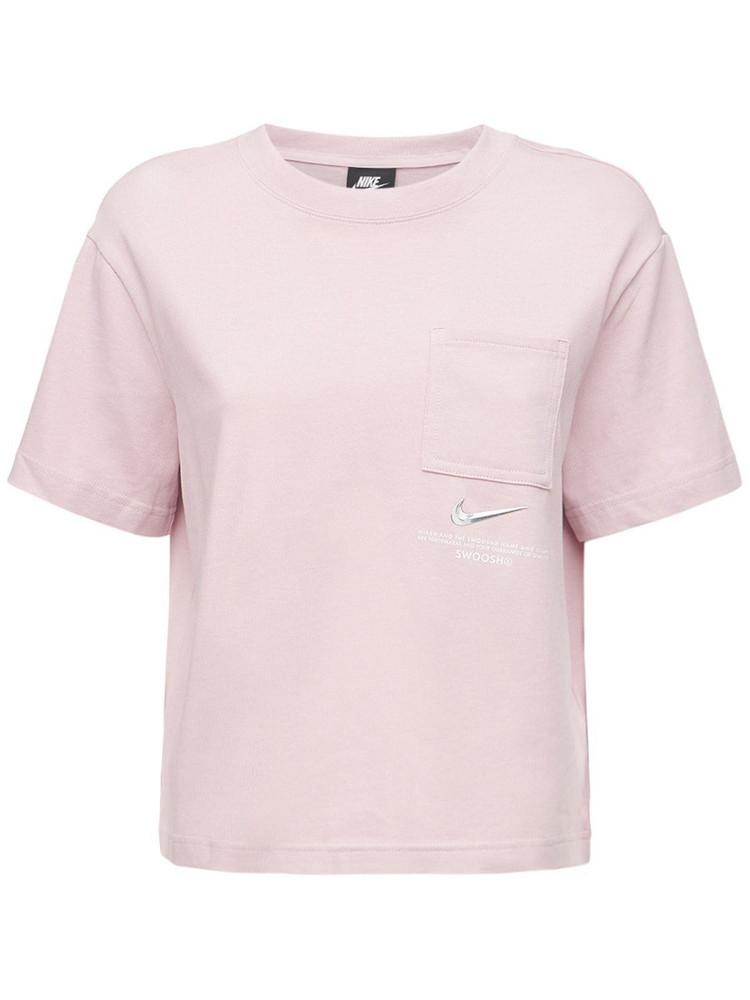 NIKE Logo Cotton Top in grey / pink