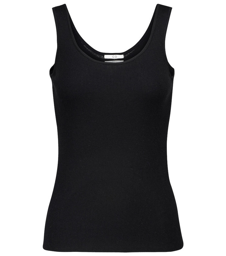 Co Ribbed-knit cashmere tank top in black