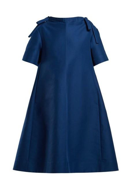 Marni - Necktie Embellished Midi Dress - Womens - Blue