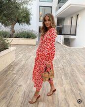 dress,red dress,floral dress,long sleeve dress,slide shoes,woven bag,handbag