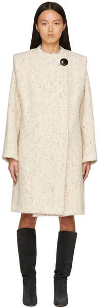 Isabel Marant Beige Wool Speckle Coat in ecru