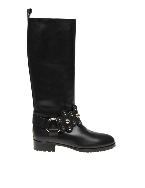 Red Valentino Leather Boot With Flower Detail Puzzle Black Color