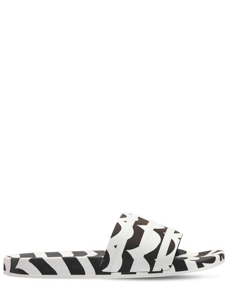 ADIDAS ORIGINALS Adilette Marimekko Striped Slide Sandals in black