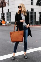fashionjackson,blogger,coat,sweater,jeans,shoes,sunglasses,bag,loafers,tote bag,skinny jeans,blazer,leather bag,black shoes,black coat,brown bag,mules,black loafers