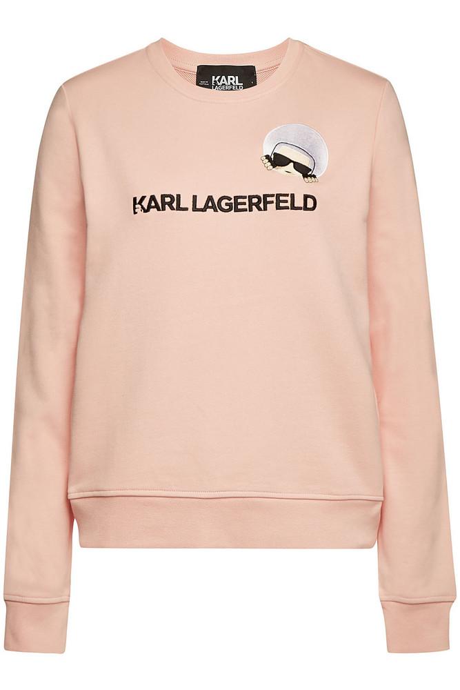 Karl Lagerfeld Karl Dots Ikonik Embroidered Cotton Sweatshirt  in pink