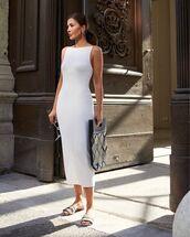 dress,midi dress,white dress,slide shoes,slip on shoes,bag